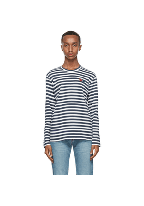 Comme des Garcons Play Navy Stripe Double Heart Long Sleeve T-Shirt