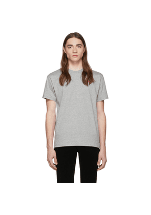 Comme des Garcons Play Grey and Red Double Hearts T-Shirt