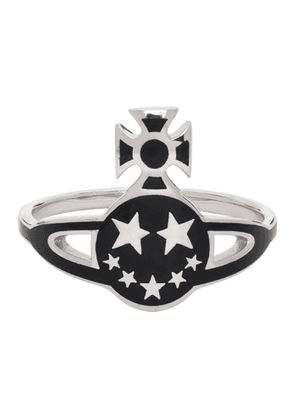 Vivienne Westwood Silver and Black Lazarus Orb Ring
