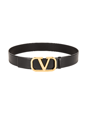 Valentino Buckle Belt H.40 in Black - Black. Size 85 (also in 95).