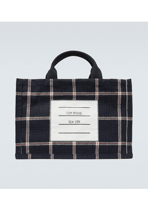 Checked wool tote bag