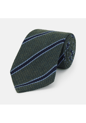 Forest Green Stripe Wool and Silk Tie - OS