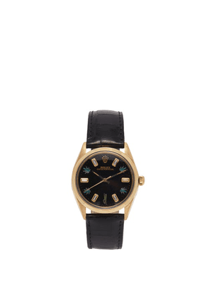 Jacquie Aiche - Vintage Rolex Oyster Diamond & Gold-plated Watch - Womens - Black