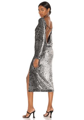 Cinq a Sept Julieann Dress in Metallic Silver. Size 00,2,4,6.