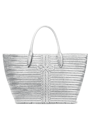Anya Hindmarch Neeson Braided Metallic Leather Tote Woman Silver Size --