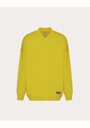 Valentino Uomo V-neck Sweater With Vltn Tag Man Yellow Viscose 83%, Polyester 17% XS