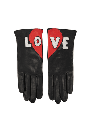 AGNELLE Love Appliquéd Leather Gloves