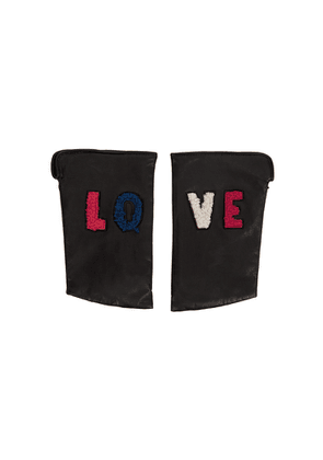 AGNELLE Velotte Black Fingerless Leather Gloves