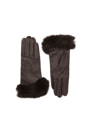 Dents Glamis Dark Brown Fur-trimmed Leather Gloves
