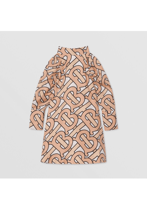 Burberry Childrens Puff-sleeve Monogram Print Silk Dress, Pink