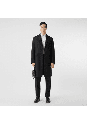 Burberry Wool Silk Tailored Coat, Black