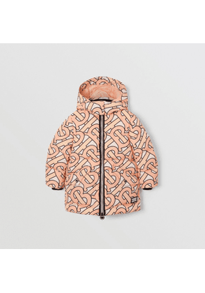 Burberry Childrens Monogram Print Puffer Coat, Pink