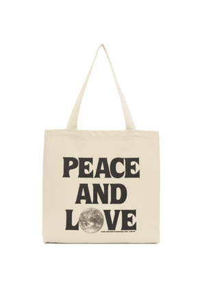Stussy Beige Canvas Peace And Love Tote