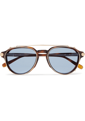 Brioni - Aviator-Style Tortoiseshell Acetate and Gunmetal-Tone Sunglasses - Men - Tortoiseshell