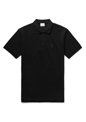 Burberry - Slim-Fit Logo-Embroidered Cotton-Piqué Polo Shirt - Men - Black