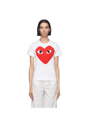 Comme des Garcons Play White and Red Double Large Hearts T-Shirt