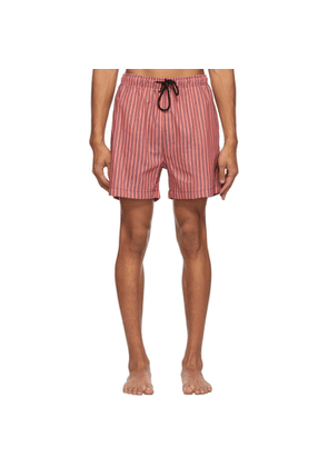 Solid and Striped Pink and Black The Classic Stripe Swim Shorts