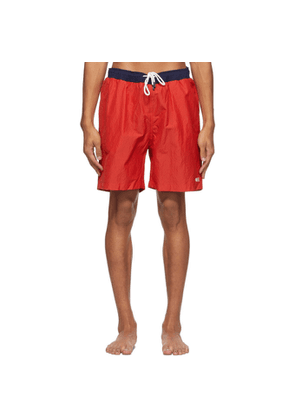 Solid and Striped Red The California Seersucker Swim Shorts