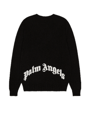 Palm Angels Rec Logo Sweater in Black & White - Black. Size L (also in M).