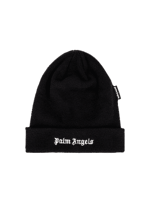 Palm Angels Logo Beanie in Black & White - Black. Size all.