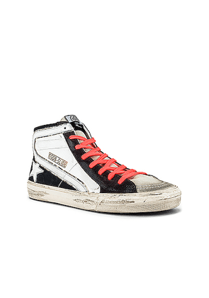 Golden Goose Slide Suede Toe Leather Upper Star & Wave Sneaker in White & Ice & Grey & Black - Black,Orange,White. Size 42 (also in 43).