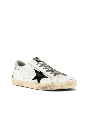 Golden Goose Superstar Leather Upper Suede Star & Spur Mirror Heel Sneaker in White & Black & Silver & Ice - White. Size 42 (also in 41,43,44,45).