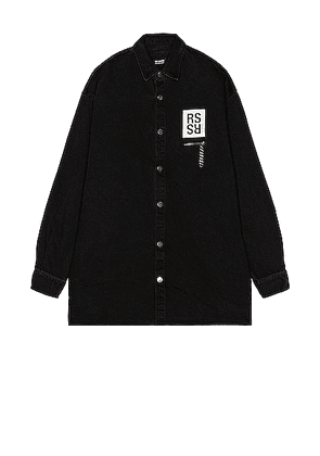 Raf Simons Big Fit Denim Shirt With Zipped Pocket in Black - Black. Size L (also in S).