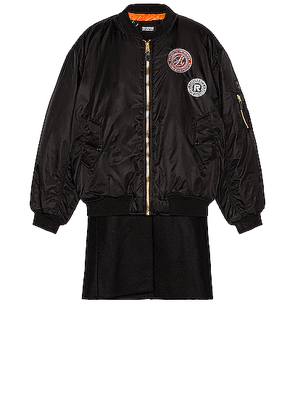 Raf Simons Nylon Patched Bomber With Wool Elongation in Black - Black,Orange. Size all.