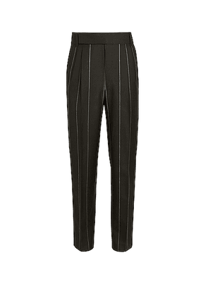 Fear of God Exclusively for Ermenegildo Zegna Double Pleat Trousers in Matte Black Anthracite - Black,Stripes. Size 48 (also in 52).