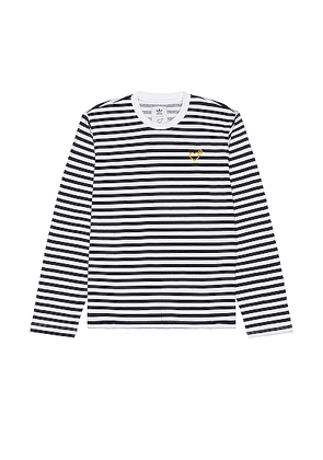 adidas x HUMAN MADE Long Sleeve Tee in Collegiate Navy - Blue,Stripes. Size L (also in S,M).