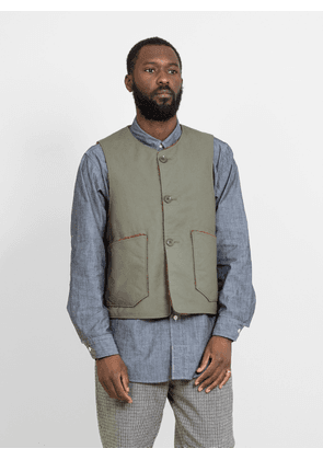 Engineered Garments Cotton Double Cloth Over Vest Olive