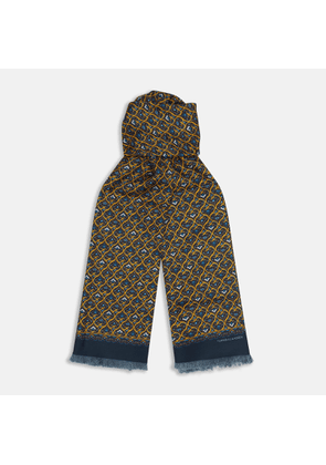Golden and Navy Hearts Print Silk Scarf - OS