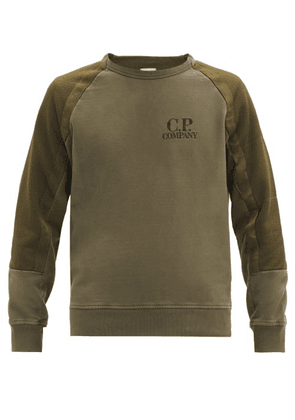 C.P. Company - Mesh-pocket Panelled-sleeve Jersey Sweatshirt - Mens - Green