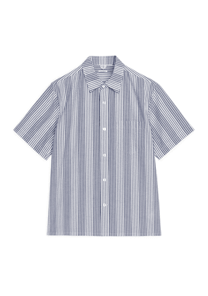 Short-Sleeve Seersucker Shirt - Blue