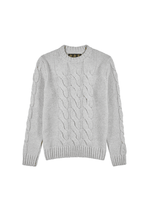 Barbour Lenn Grey Cable-knit Wool-blend Jumper