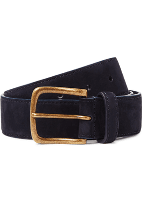 Anderson & Sheppard - 3.5cm Suede Belt - Men - Blue