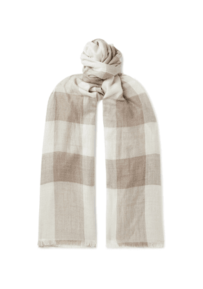 Anderson & Sheppard - Fringed Checked Cashmere Scarf - Men - Neutrals