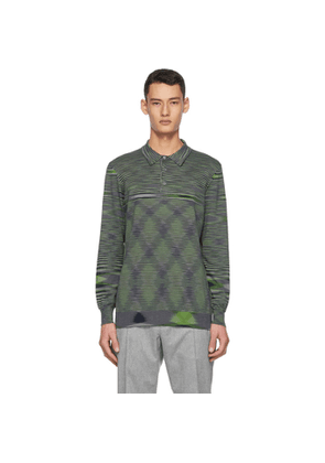 Missoni Grey and Green Striped Polo