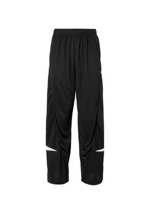 Balenciaga - Wide-Leg Logo-Detailed Piped Perforated Shell Track Pants - Men - Black