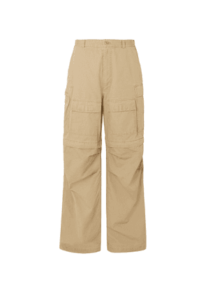 Balenciaga - Wide-Leg Convertible Cotton-Ripstop Cargo Trousers - Men - Neutrals