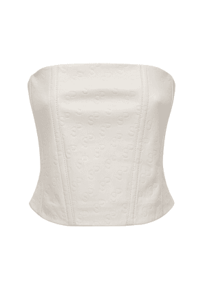 Totoo Embossed Leather Corset Top