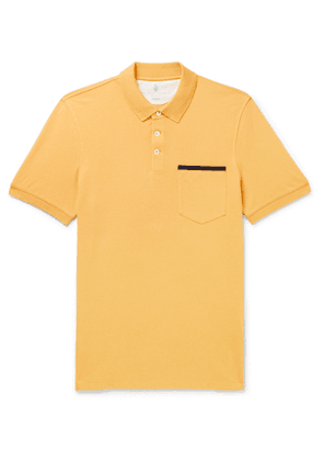 Brunello Cucinelli - Slim-Fit Grosgrain-Trimmed Cotton-Piqué Polo Shirt - Men - Yellow