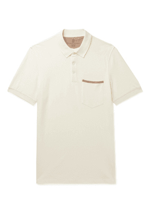 Brunello Cucinelli - Slim-Fit Grosgrain-Trimmed Cotton-Piqué Polo Shirt - Men - White