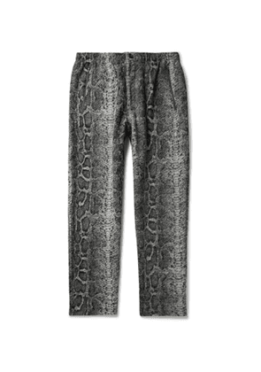 Engineered Garments - Tapered Snake-Print Textured-Knit Trousers - Men - Gray