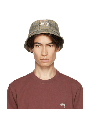Stussy Off-White Plaid Big Logo Bucket Hat