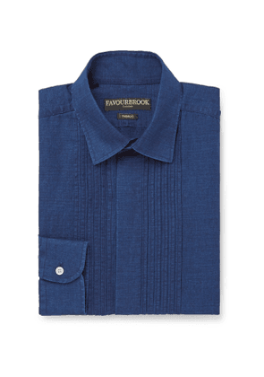Favourbrook - Bib-Front Cotton and Linen-Blend Shirt - Men - Blue