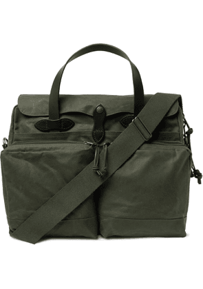 Filson - 24-Hour Leather-Trimmed Coated-Canvas Briefcase - Men - Green