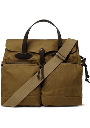 Filson - 24-Hour Leather-Trimmed Coated-Canvas Briefcase - Men - Brown