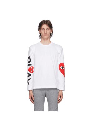 Comme des Garcons Play White Big Heart Long Sleeve T-Shirt