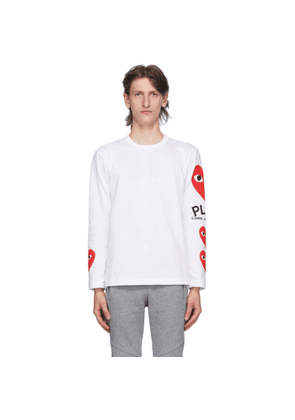Comme des Garcons Play White Multi Heart Long Sleeve T-Shirt